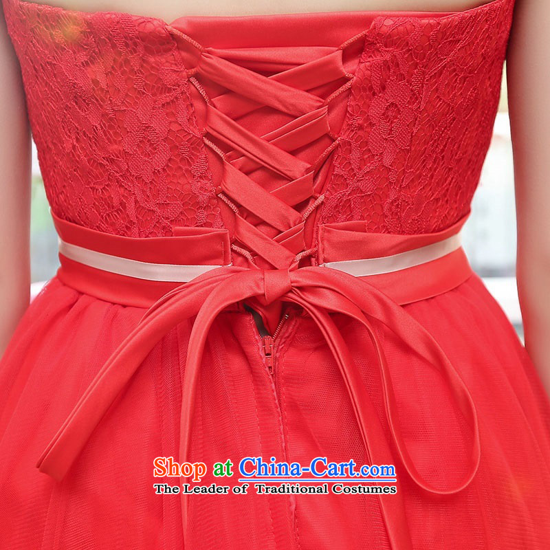Upscale dress wiping the chest dresses dress Summer 2015 new wrapped chest lace bon bon skirt bridesmaid princess skirt banquet wedding dress red L,uyuk,,, shopping on the Internet