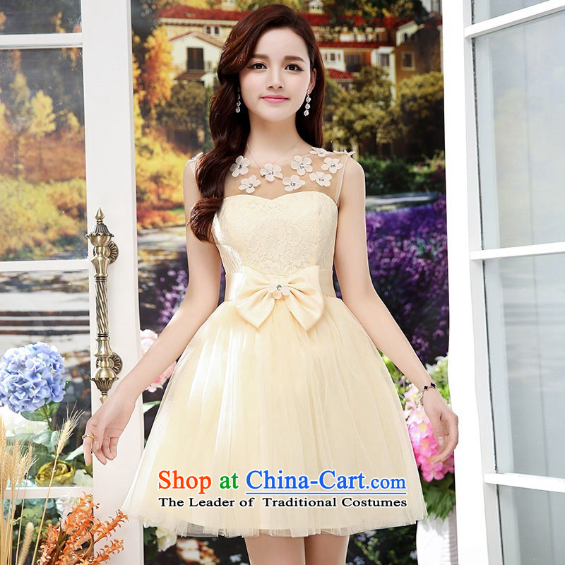 Upscale dress lace round-neck collar dresses sleeveless dress bon bon skirt 2015 Summer New flower bud skirt wedding dress bridesmaid skirt princess apricot聽L