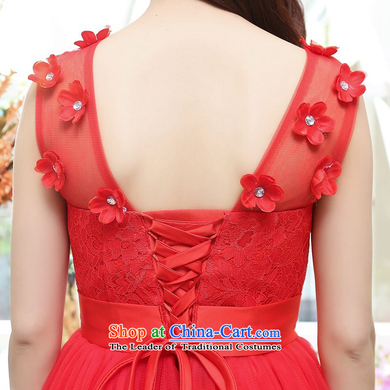 Upscale dress lace round-neck collar dresses sleeveless dress bon bon skirt 2015 Summer New flower bud skirt wedding dress bridesmaid skirt princess apricot L,uyuk,,, shopping on the Internet