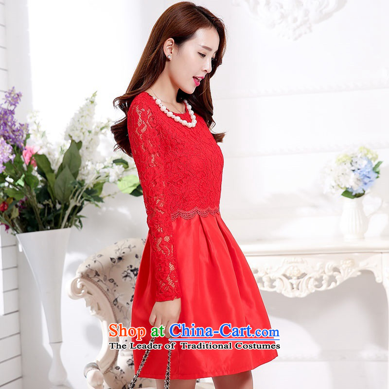 2015 Autumn and Winter Ms. new large red bridal dresses evening dresses bon bon skirt lace hook flower bows to Sau San video thin bridesmaid wedding dresses snapshot service 1 red聽XL