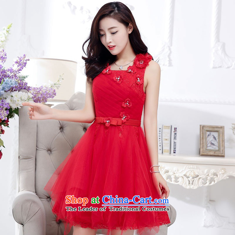 2015 Autumn and Winter, noble and elegant lace dresses bridal services in evening dress long temperament lady flowers adorned thin graphics Sau San Princess skirt bon bon skirt red L