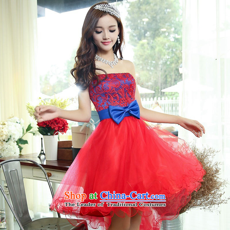 2015 Autumn and winter new temperament gentlewoman anointed chest lace dresses evening dresses Sau San video thin foutune gauze stitching bon bon skirt rabbit hair shawl two kits princess skirt blue and red L