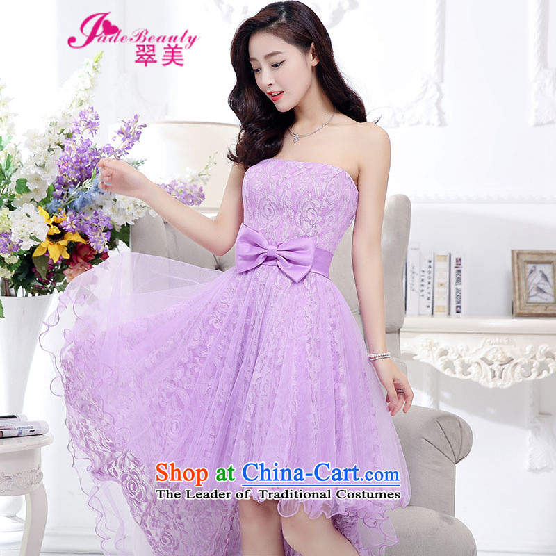 The Hong Kong dress 2015 autumn and winter married women dress dovetail skirt bon bon dresses female purple?XL