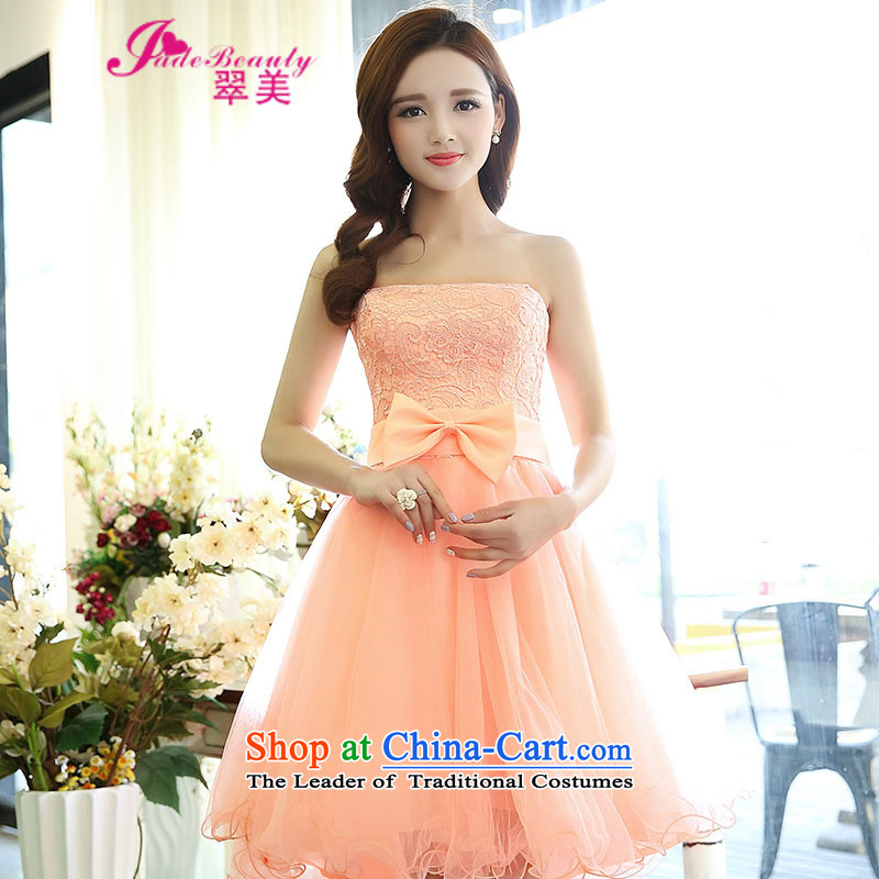 The Hong Kong?2015 autumn and winter Western Wind sexy fairies lace straps and chest gauze dovetail bon bon skirt long after the former short skirt dress pink?L