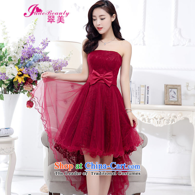 The Hong Kong dress 2015 autumn and winter married women dress dovetail skirt bon bon dresses female wine red?XL