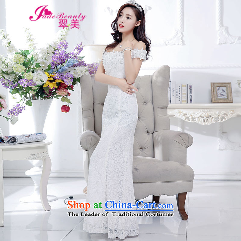The Hong Kong evening dresses new bows services 2015 bride bridesmaid to service a field for long bridesmaid services under the auspices of evening dress White XL