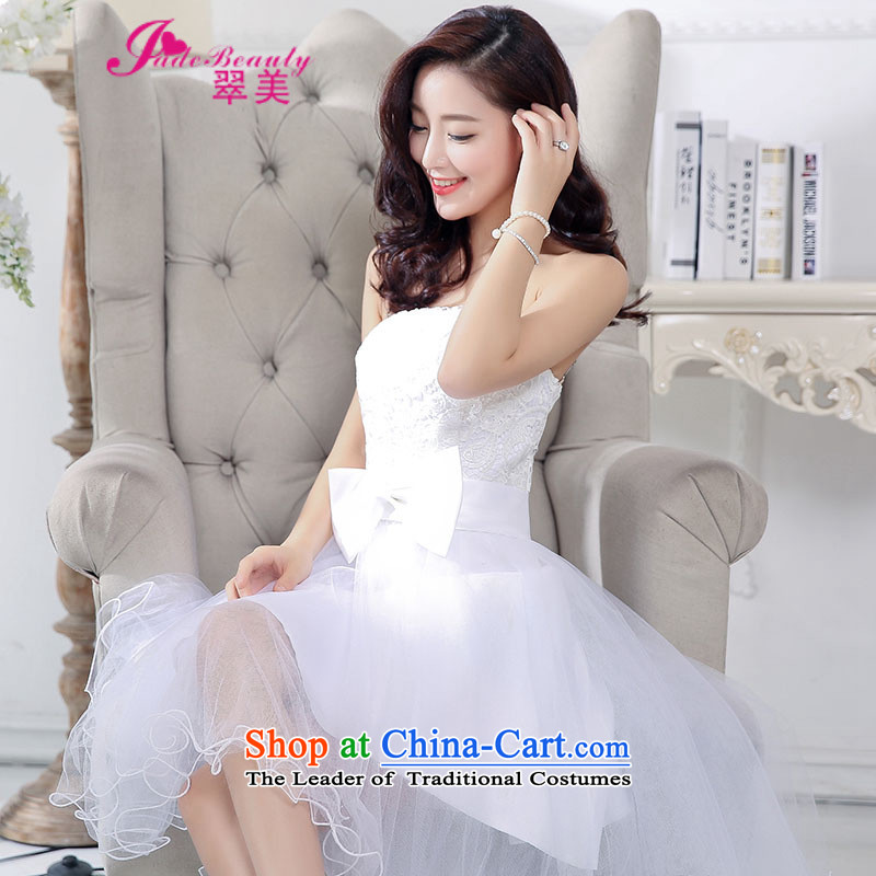 The Hong Kong 2015 autumn and winter Western Wind sexy fairies lace straps and chest gauze dovetail bon bon skirt long after the former short skirt dress white S