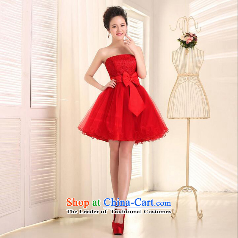 As Korean version 2015 on new marriages bows services bridesmaid red lace wiping the chest after short long short skirts dresses small red short,�XL