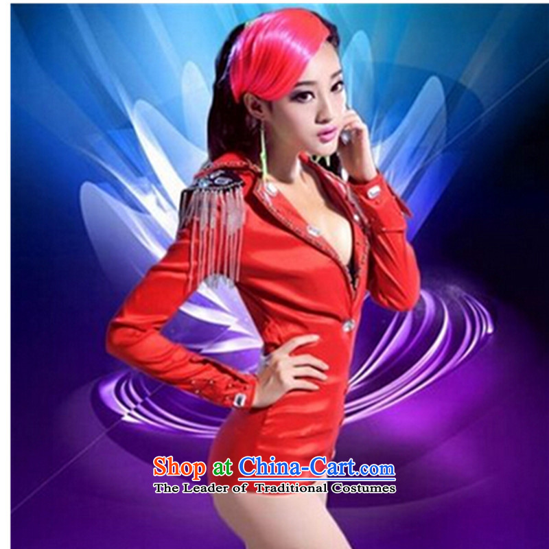 The 2015 New jazz dance sexy dance bars serving steel pipe nightclubs singers services DS sexy red-yi costumes and DS stage costumes red?S