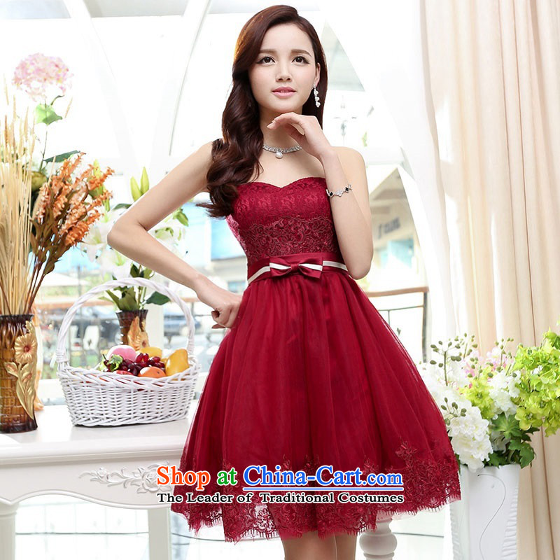 Upscale dress wiping the chest dresses dress Summer 2015 new wrapped chest lace bon bon skirt bridesmaid princess skirt banquet wedding-dress wine red聽M