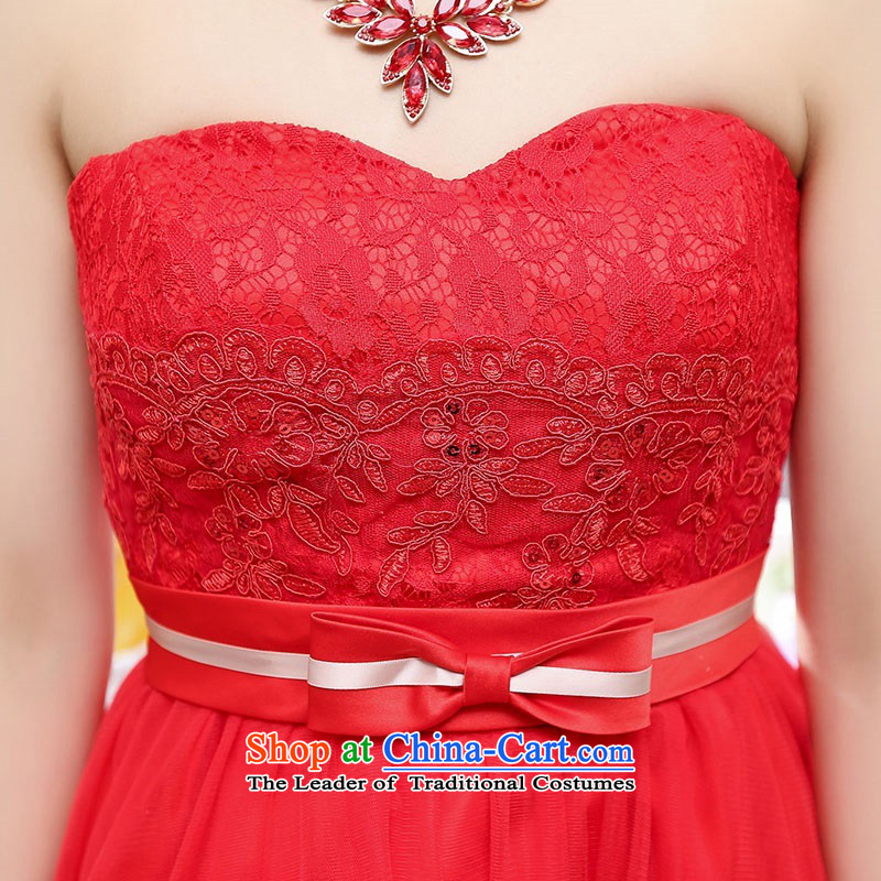 Upscale dress wiping the chest dresses dress Summer 2015 new wrapped chest lace bon bon skirt bridesmaid princess skirt banquet wedding-dress wine red M,uyuk,,, shopping on the Internet