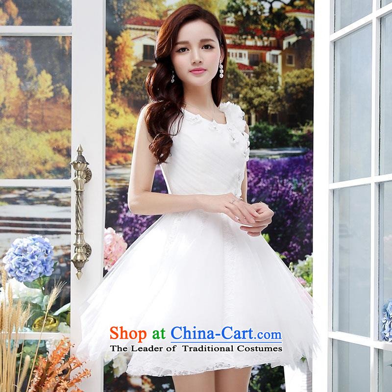 Summer 2015 new wedding dresses dress sleeveless lace bon bon skirt lady princess skirt elasticated externally accessible adjustment white?L