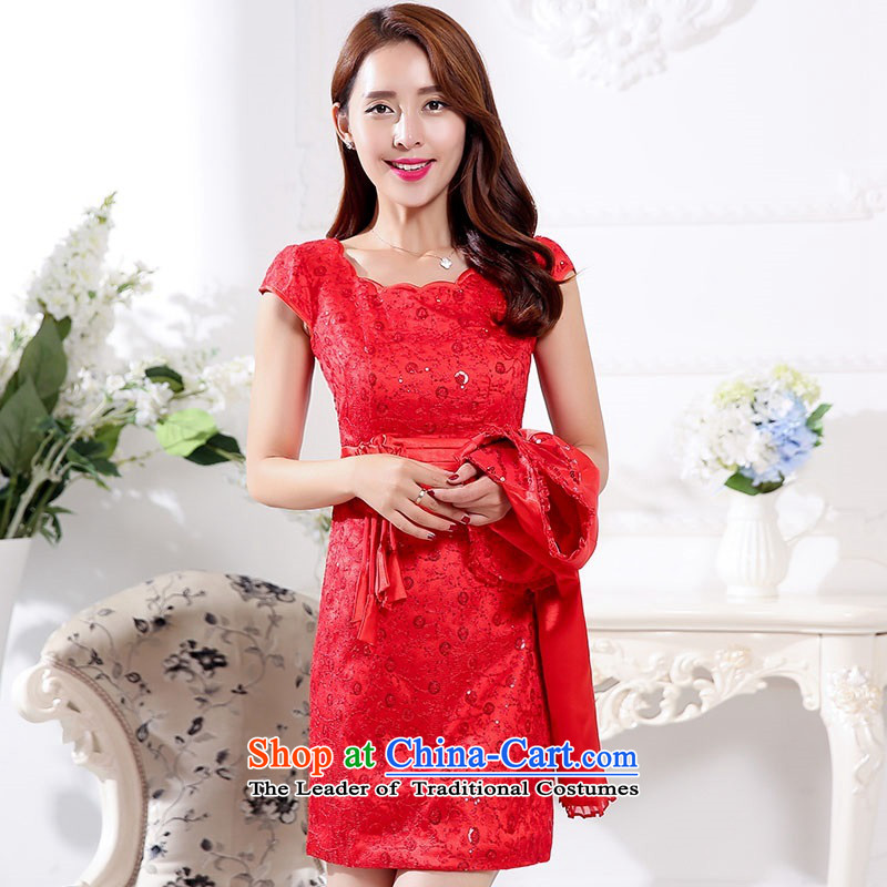 The 2015 autumn and winter new president two kits of red bridal dresses retro dress Sau San Banquet in long bows cheongsam look bridesmaid Services Services 1 red�XXL