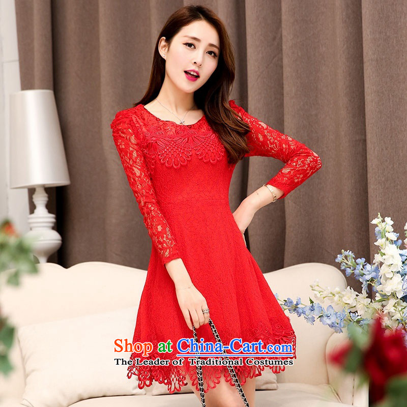 2015 Autumn and Winter Ms. new large red round-neck collar long-sleeved bridal dresses video thin lace Sau San long-sleeved engraving bride skirts temperament gentlewoman bows services 1 red?XL