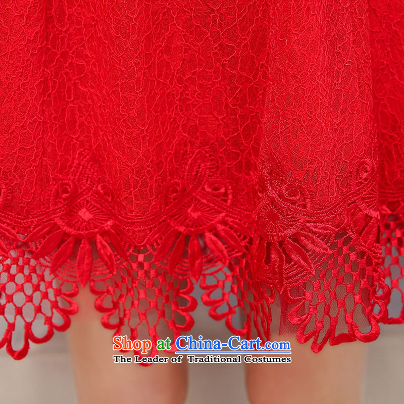 2015 Autumn and Winter Ms. new large red round-neck collar long-sleeved bridal dresses video thin lace Sau San long-sleeved engraving bride skirts temperament gentlewoman bows services 1 redXL,UYUK,,, shopping on the Internet