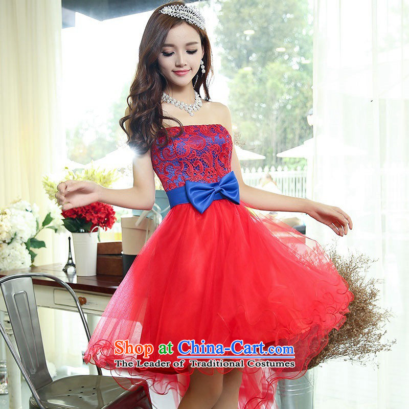 2015 Autumn and Winter Ms. candy colored new anointed chest lace bridal dresses evening dresses Sau San video bridesmaid service banquet thin performances dress sweet princess skirt 1 Red, Blue�M