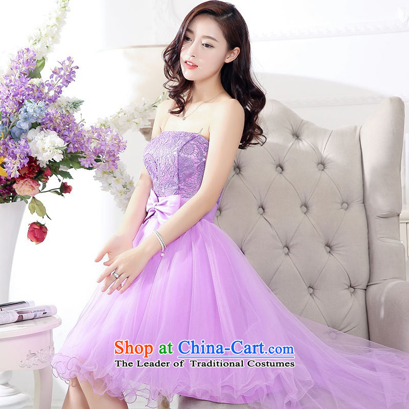 2015 Autumn and winter new temperament gentlewoman anointed chest lace dresses evening dresses Sau San video thin foutune gauze stitching bon bon skirt rabbit hair shawl two kits princess skirt purple L
