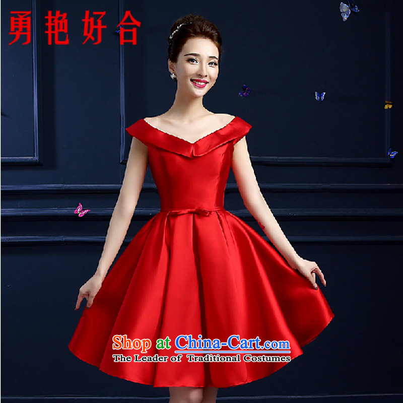 Yong-yeon and 2015 new bride Summer Wedding dress red word   shoulder evening dress short, banquet red?XXL