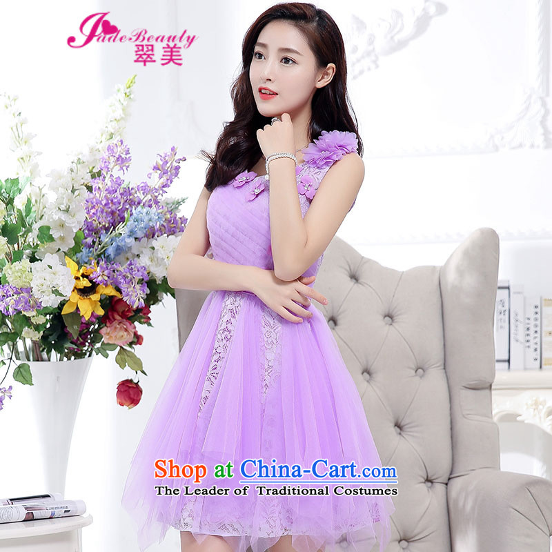 The Hong Kong 2015 Autumn dress new stylish temperament dress evening dresses back door onto the girl purple?L