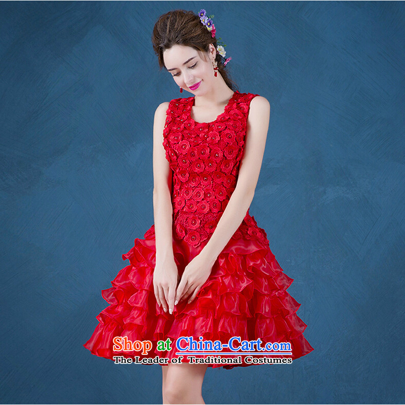 Pure Love bamboo yarn bows services fall 2015 new red lace in long banquet bows dress marriages evening dresses 001) Red Winter�S