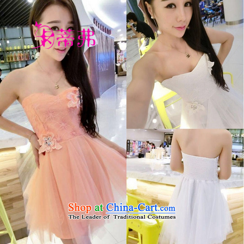 Carty, 2015 Autumn Night Club, new Western sexy Chest Flower large bon bon small dress wiping the chest skirt dresses F6113 white are code