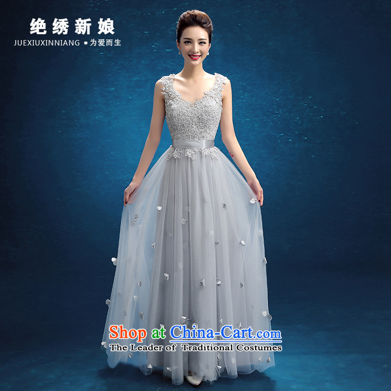 No new 2015 bride embroidered evening dresses wedding services winter Bridal Fashion bows lace Sau San marriage bridesmaid dresses, head of the female bridesmaid services Blue?M?Suzhou Shipment