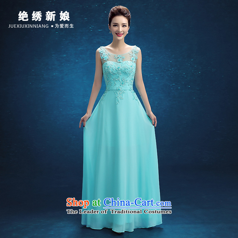 No new 2015 bride embroidered evening dresses wedding services winter Bridal Fashion bows lace Sau San marriage bridesmaid mission dress female bridesmaid services skyblue?L?Suzhou Shipment