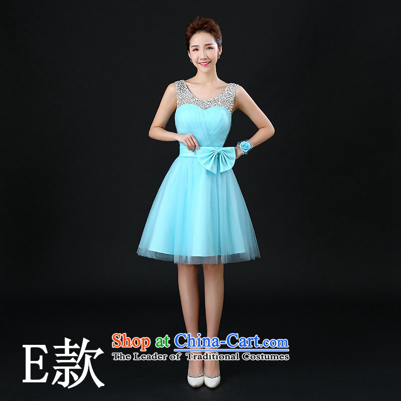 Tim red makeup bridesmaid Dress Short of dress and sisters in 2015 winter Chorus will new small dress bridesmaid mission blue skirt LF042 BRIDESMAID E_ wrist flower L