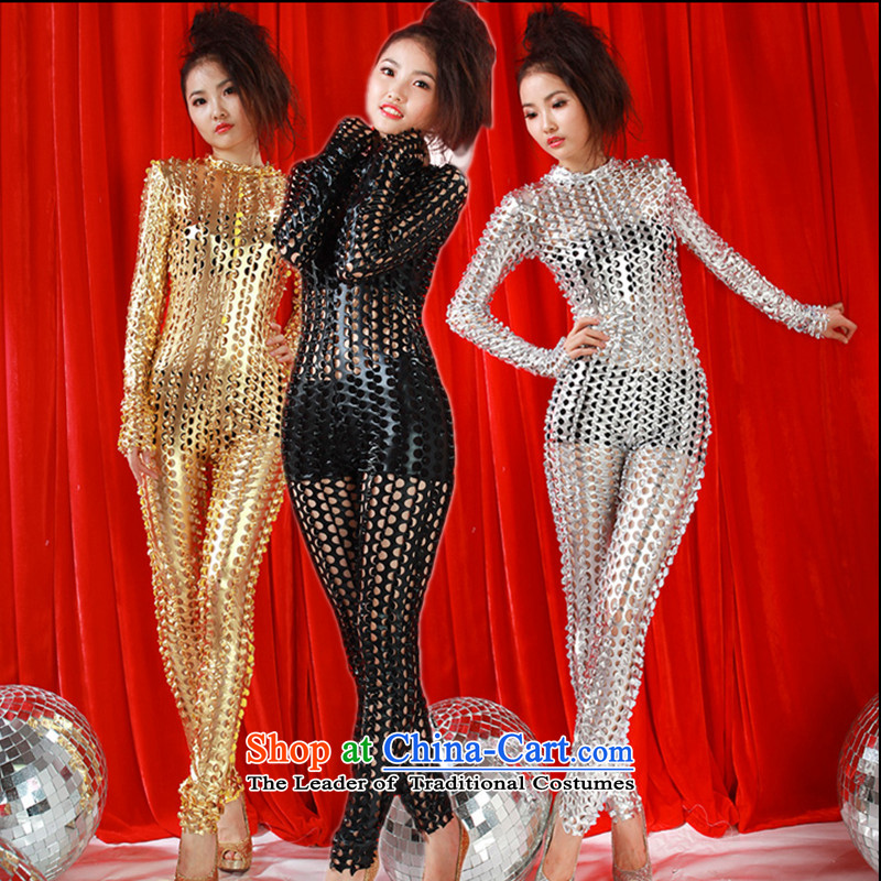 The 2015 New engraving sexy body yi ds will singer stage with modern jazz dance wearing nightclubs and sexy gauze light drill-yi gold are code
