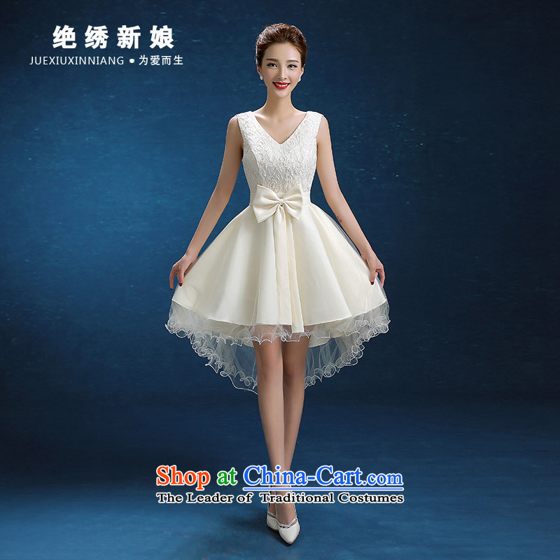 No new 2015 bride embroidered autumn and winter Korean short, shoulders large graphics thin bride banquet dinner dress white form does not allow for exchanges or refunds