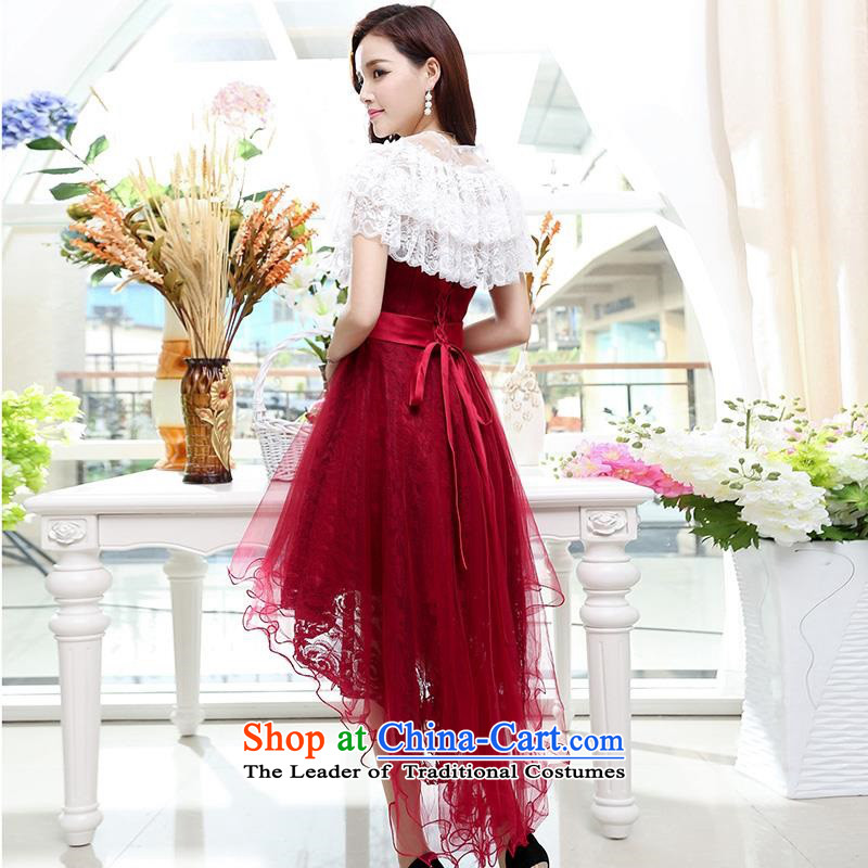 Upscale dress?2015 Summer new anointed chest dresses Dress Short long after the former bon bon skirt wrapped scoops gentlewoman wedding dress in long wine red?L