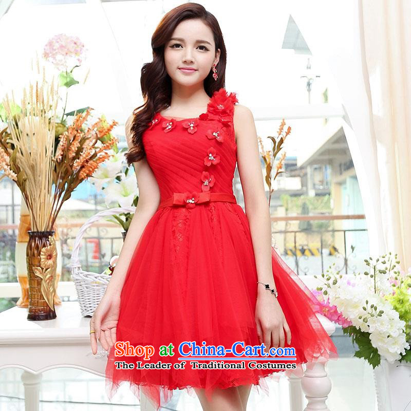 Summer 2015 new wedding dresses dress sleeveless lace bon bon skirt lady princess skirt suction elasticated adjust red?M