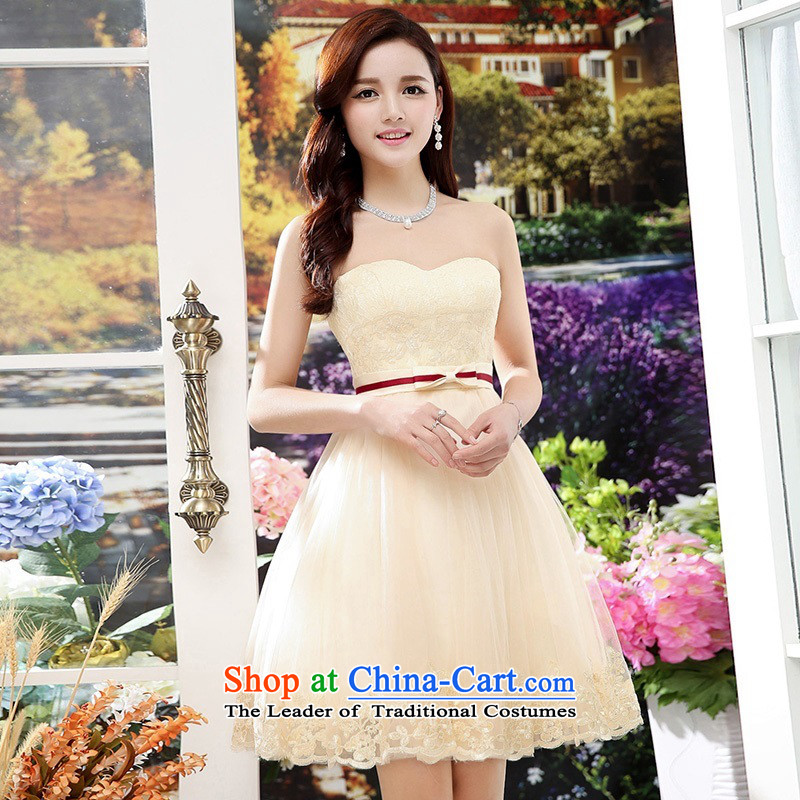 Upscale dress wiping the chest dresses dress Summer 2015 new wrapped chest lace bon bon skirt bridesmaid princess skirt banquet wedding-dress apricot?S