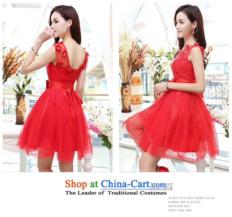 Upscale dress lace round-neck collar dresses sleeveless dress bon bon skirt 2015 Summer New flower bud skirt wedding dress bridesmaid skirt princess red S picture, prices, brand platters! The elections are supplied in the national character of distribution, so action, buy now enjoy more preferential! As soon as possible.