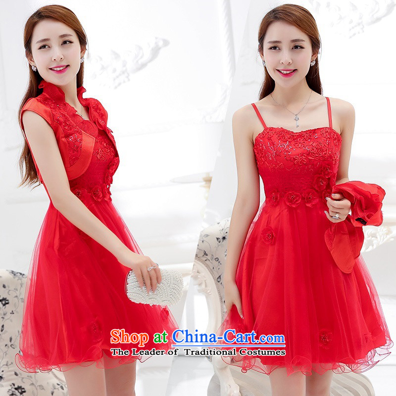 Upscale dress�2015 Summer new bridal dresses dress small shawl two kits lace bon bon skirt bridesmaid princess skirt red�XL
