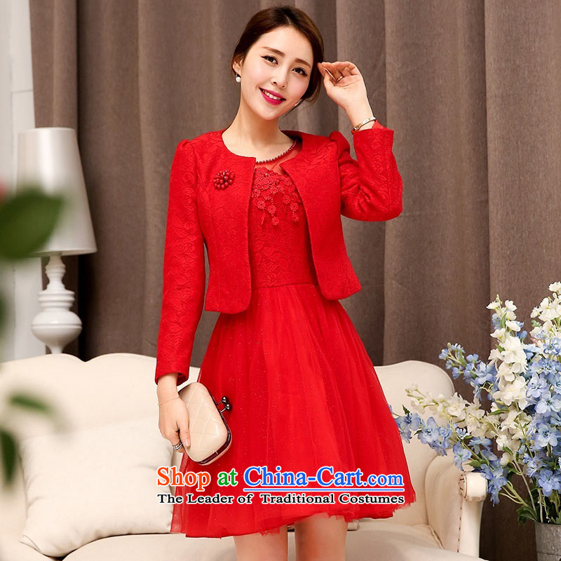 The 2015 autumn and winter Ms. new large red stylish two kits evening dresses bridal dresses Sau San Video Foutune of Princess skirts thin bon bon skirt banquet service 1 red?XXL toasting champagne