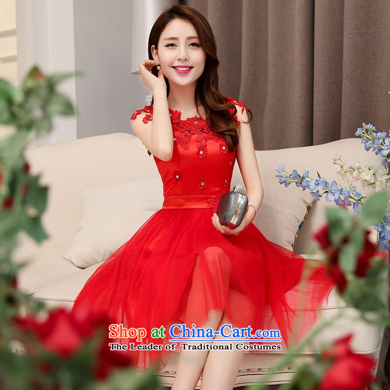 2015 Autumn and winter, large red lace round-neck collar bridal dresses Sau San Video Foutune of dress thin lace princess bride adorned with flowers skirt bon bon Skirts 1 red?L
