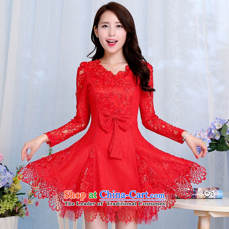 2015 Autumn and Winter Ms. new waves of sexy V-Neck long-sleeved red bridal dresses dress Sau San foutune bow tie bows to the Princess Bride Skirts 1 RED�M