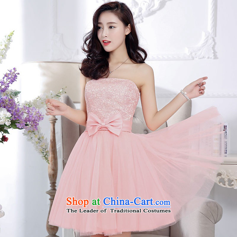 2015 Autumn and Winter, stylish and simple with chest lace dresses bridal services in the medium to long term, temperament Sau San bon bon skirt gauze princess skirt bow tie foutune bridesmaid services Pink�S