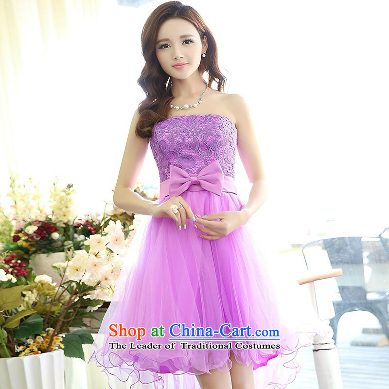 2015 Autumn and Winter Ms. candy colored new anointed chest lace bridal dresses evening dresses Sau San video bridesmaid service banquet thin performances dress sweet Princess Skirts 1 purple M