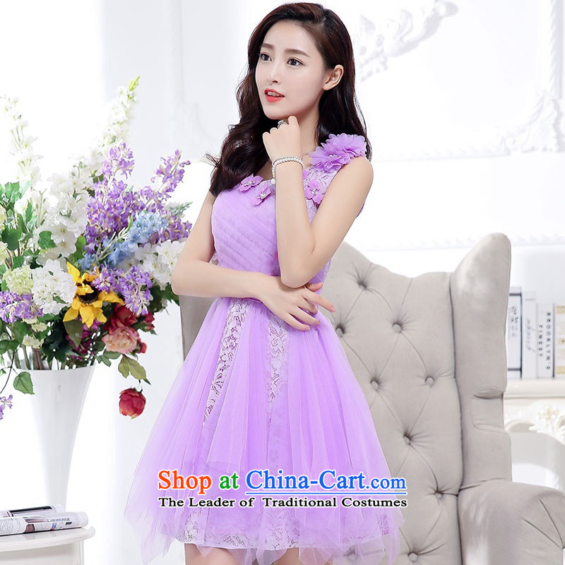 2015 Autumn and Winter, noble and elegant lace dresses bridal services in evening dress long temperament lady flowers adorned thin graphics Sau San Princess skirt bon bon skirt purple?M