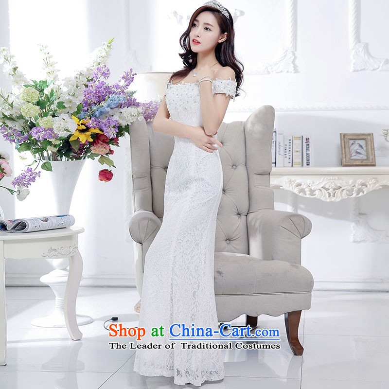 2015 Autumn and Winter Ms. new trendy first field shoulder and chest crowsfoot dresses dress kit temperament gentlewoman Sau San video thin lace long skirt rabbit woolen shawl two kits White聽XL