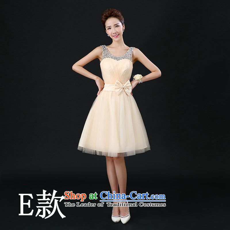 Tim hates makeup and flagship store bridesmaid Dress Short of dress and sisters in 2015 winter Chorus will new small dress bridesmaid mission champagne color bridesmaid skirt F03 E_ wrist flower?S