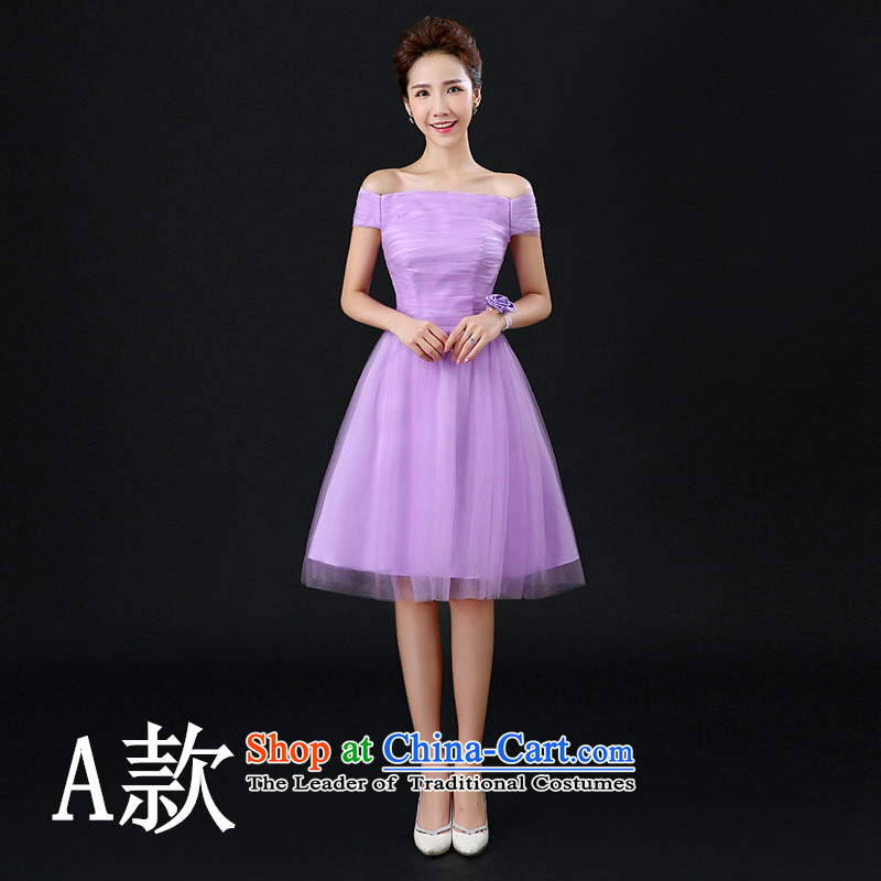 Tim hates makeup and new bridesmaid winter clothing bridesmaid mission shoulder sister short skirt dress bridesmaid dress Chorus will dress bridesmaid small dress purple dress skirt F02 A_ wrist flower聽S