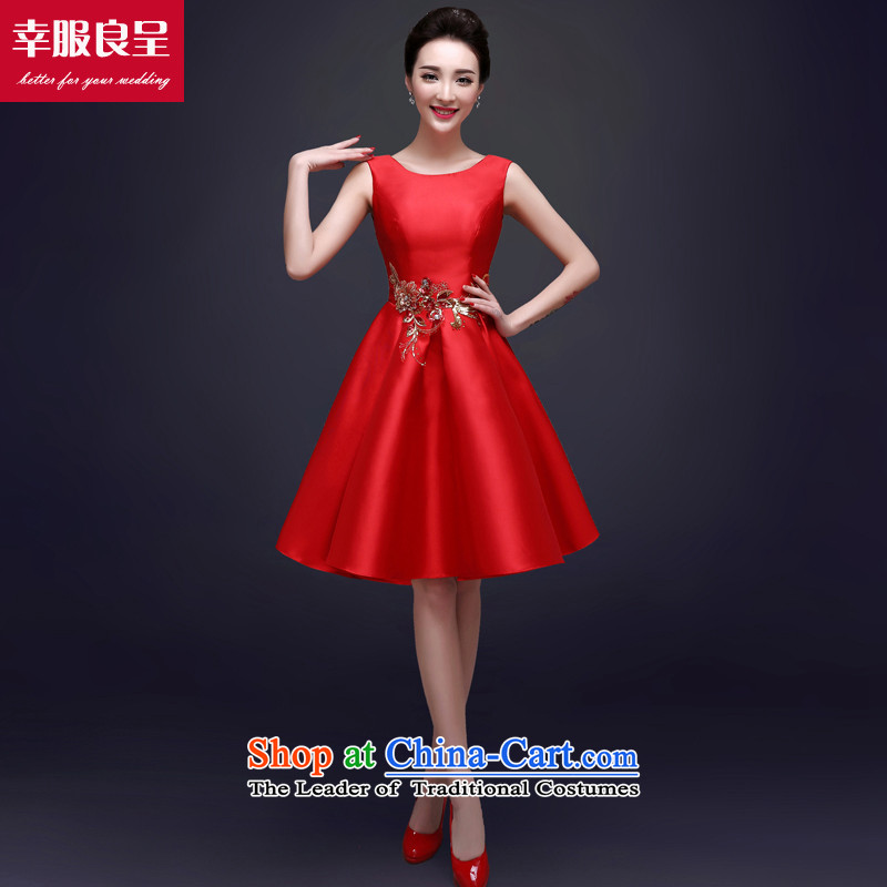 The privilege of serving-leung bride services fall 2015 bows qipao summer evening dress short of stylish wedding dresses women small red red�L