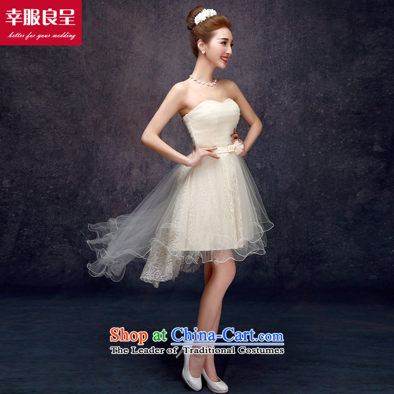 The privilege of serving the new 2015-leung Mr Ronald champagne color bridesmaid in long bridesmaid mission bridesmaids sister skirt small dress in champagne color_ _F_ 606 Long Chest trailing聽S wipe