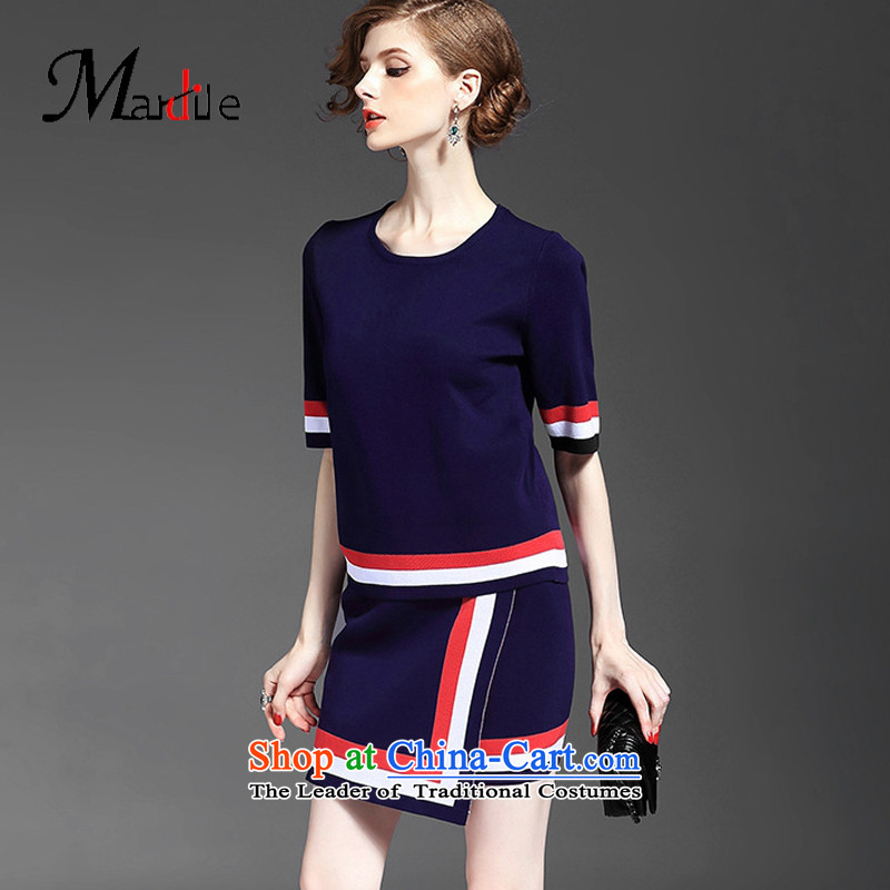 Maria di America� 2015 MARDILE autumn new drop needle striped stitching knocked color and half short-sleeved package skirt two kits blue�S
