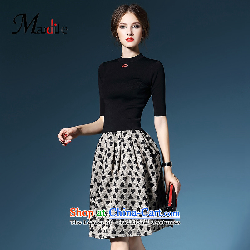 Marguerite Mr Dagnall autumn MARDILE trendy new products in 2015 wild cuff stamp skirt two kits dresses kit black?M