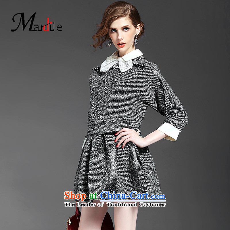 Maria di America?2015 MARDILE new round-neck collar Bow Tie 7 coarse wool terylene cuff jacket temperament body short skirt kit gray?M