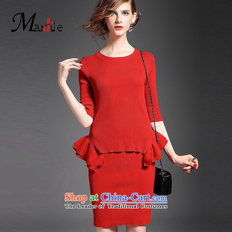 Maria di America MARDILE? 2015 stylish and cozy Sweet temperament knitting billowy flounces, under the T-shirt Sau San RED?M